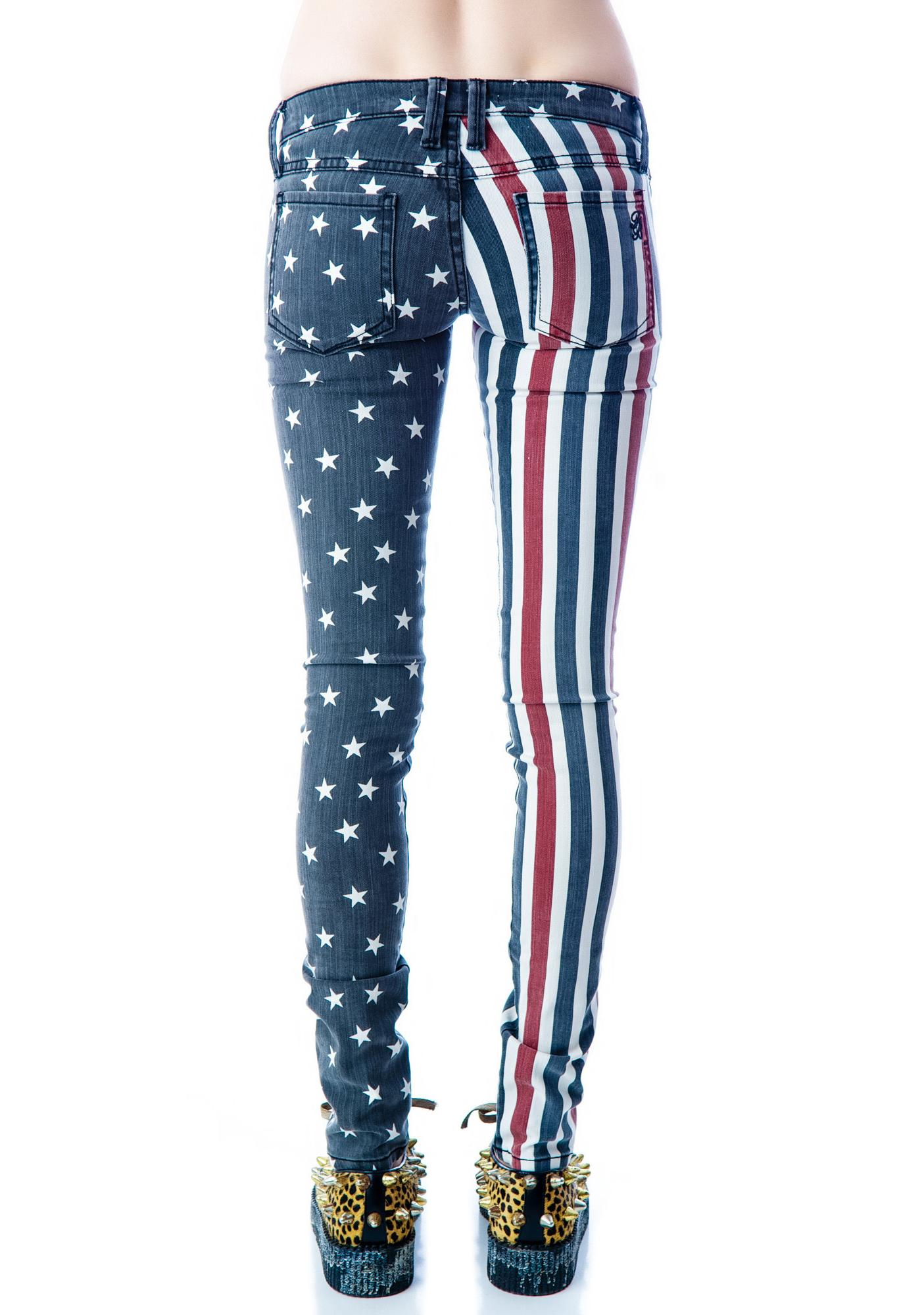 Frankie B Stars And Stripes Skinny Jeans