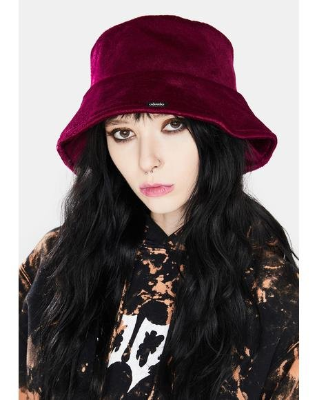 Wine Beatrix Velour Bucket Hat