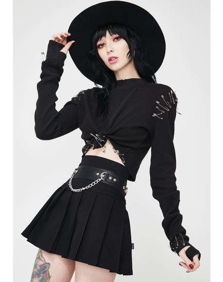 Pleated Chain Mini Skirt