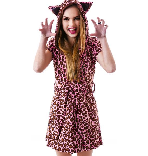 J Valentine Here Kitty Leopard Robe