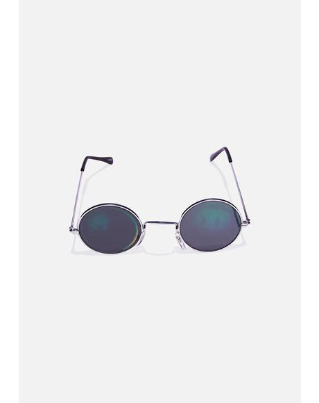 Smiley Hologram Round Sunglasses