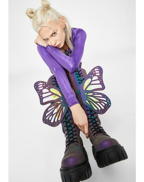 Mystic Garden Reflective Butterfly Boots