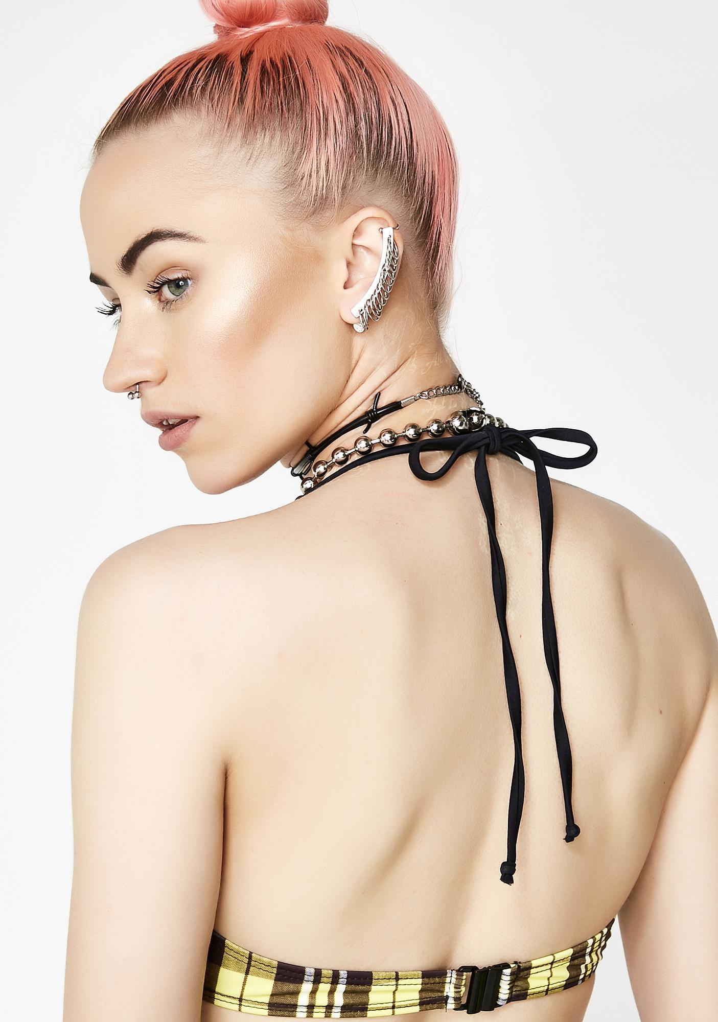 Jaded London Yellow Check Underwire Bikini Top
