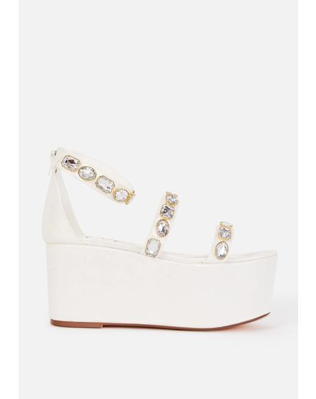 White Paloona Platform Sandals