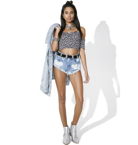 Glamorous Torn Heart Denim Shorts
