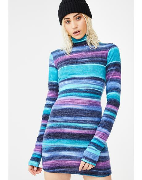 Stripe Turtleneck Dress