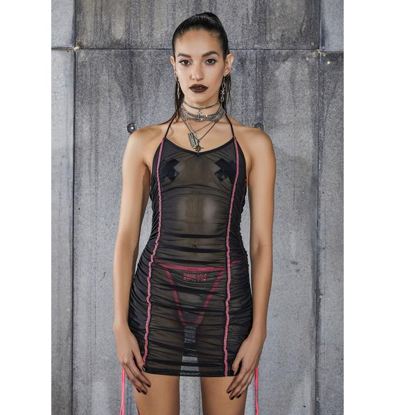 DARKER WAVS Snare Mesh Mini Dress With Pink Stitching