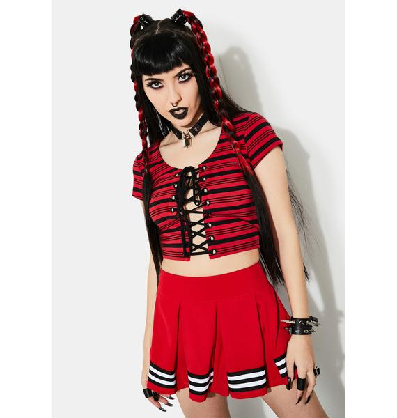 Current Mood Fire Within Striped Lace-Up Top