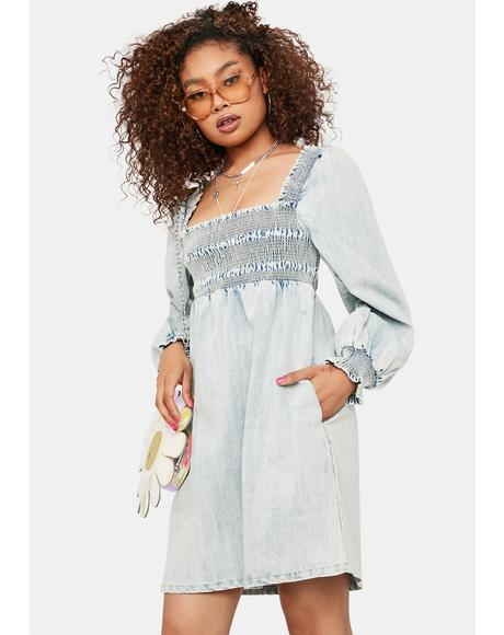 After The Sunset Denim Babydoll Dress