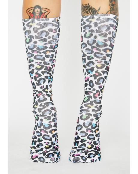 Rainbow Hunter Leopard Crew Socks