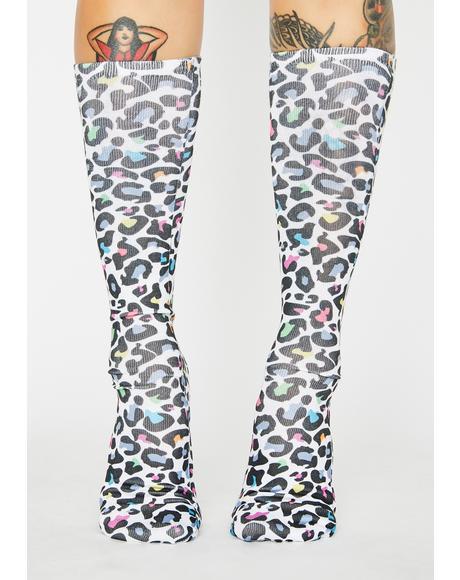 Rainbow Hunter Leopard Crew Socks
