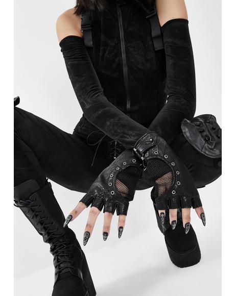 Grommet Fingerless Gloves