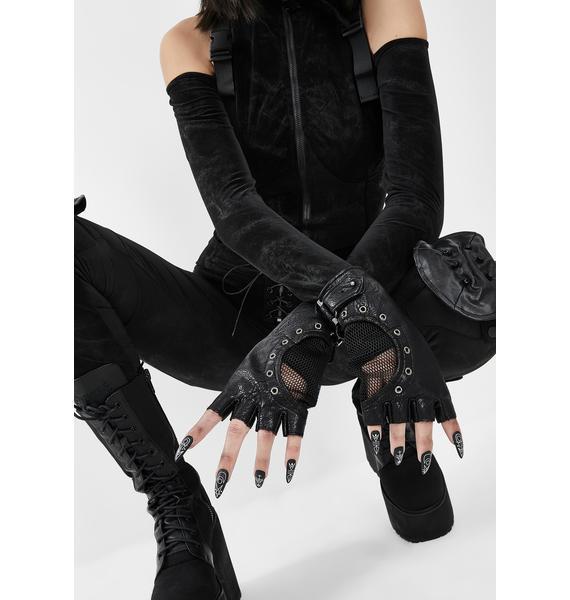 Devil Fashion Grommet Fingerless Gloves