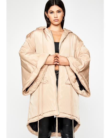 Taupe Go Flex Hooded Coat
