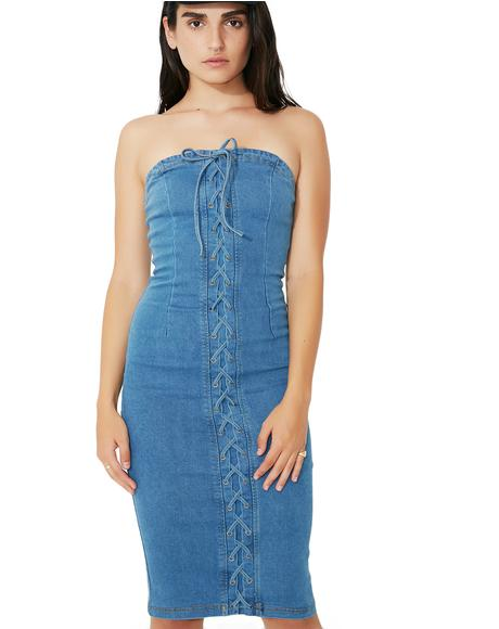 Strung Up Denim Dress