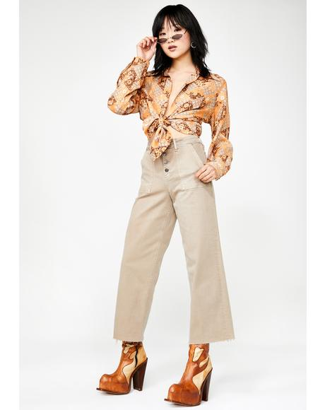 Nori Utility Cropped Wide Leg Jeans