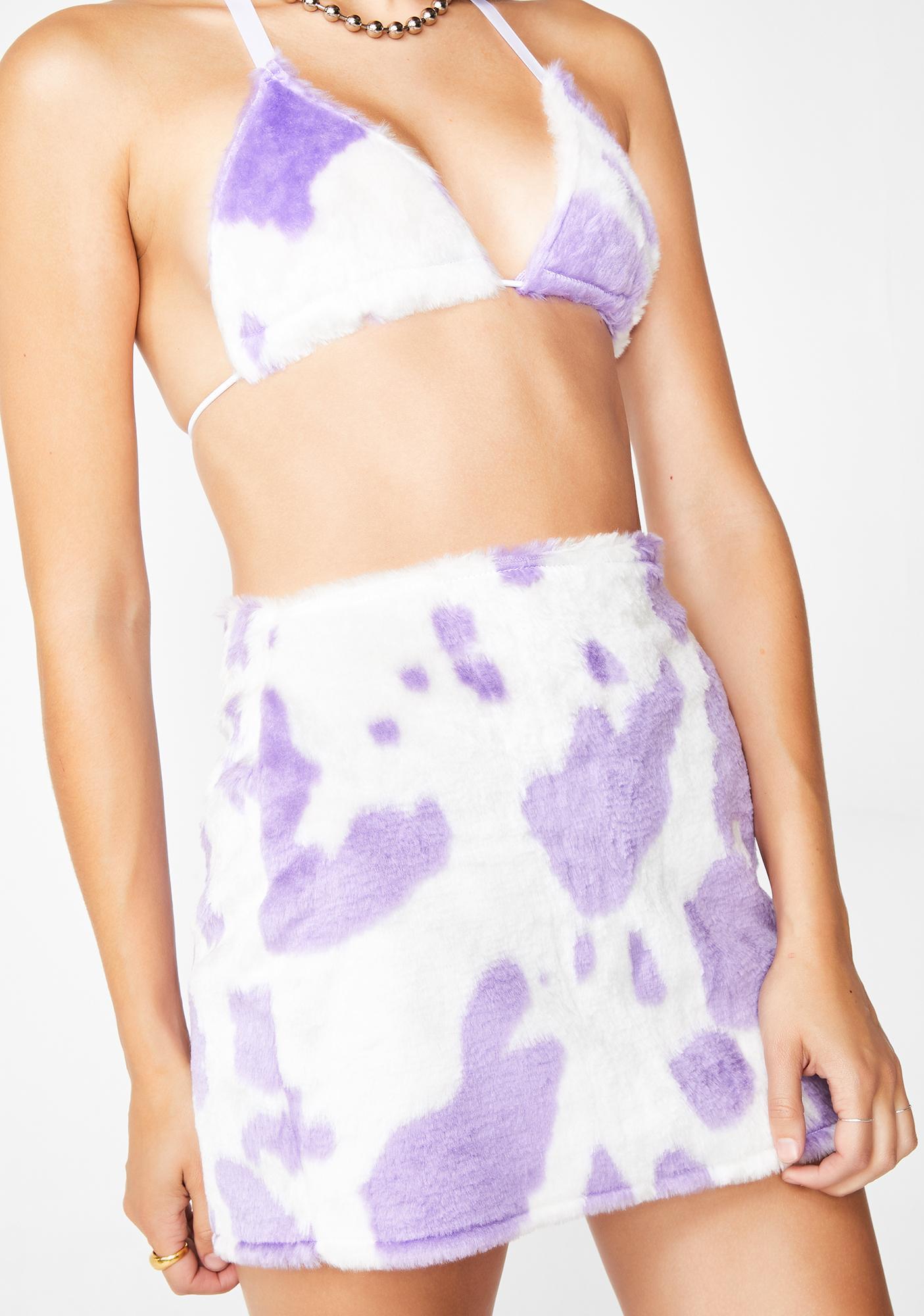 a4f0f7287286a Tiar Fluffy Lilac Cow Mini Skirt