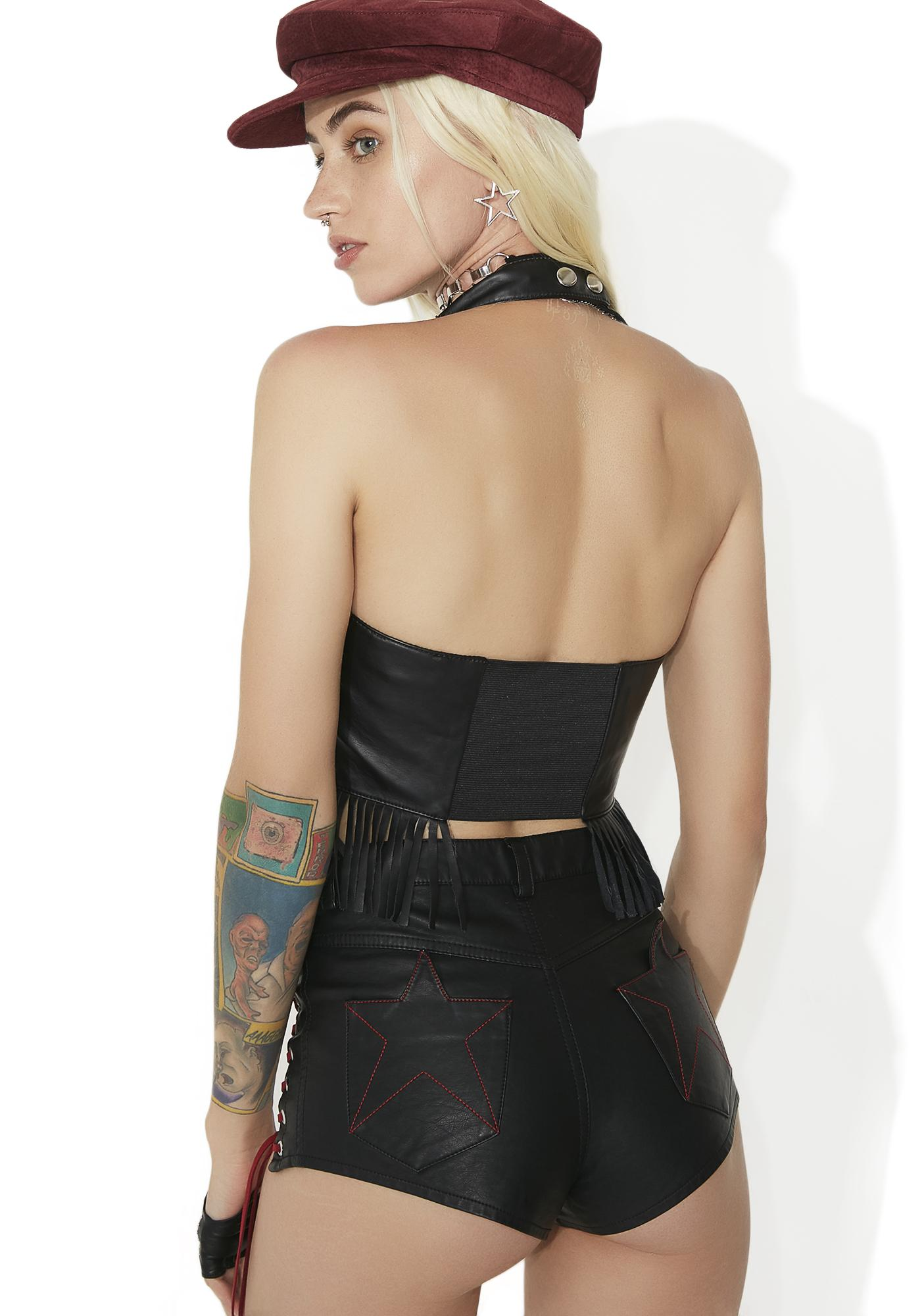 Current Mood In Bad Company Lace-Up Halter Top