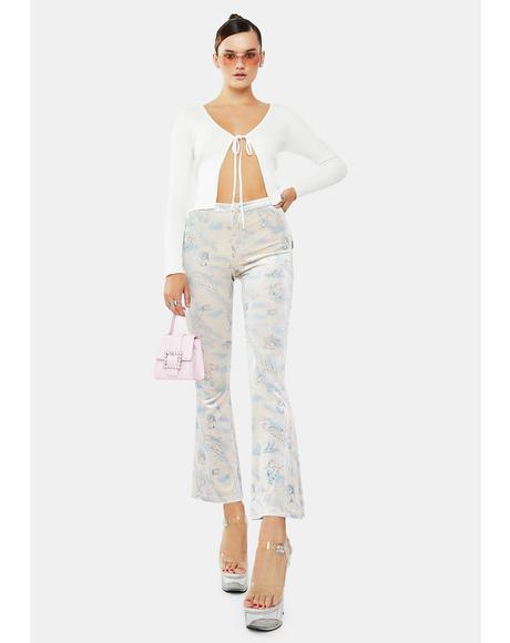 Velvet Cupid Tattoo Print Flare Pants