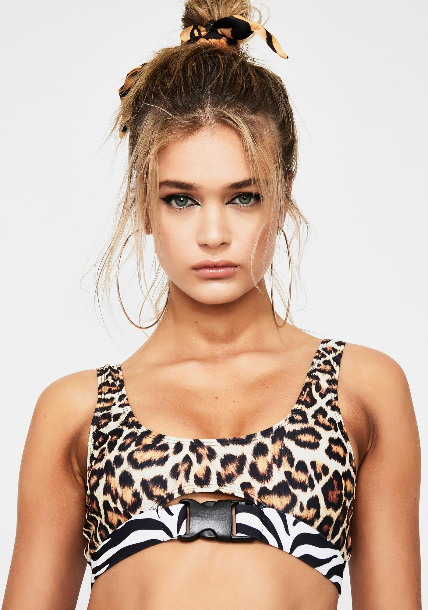 Jaded London Leopard Buckle Bikini Top