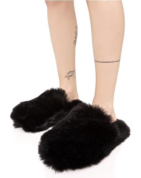 Onyx Furry Slippers