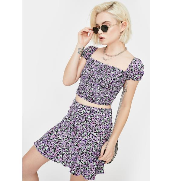 Motel Lilac Blossom Elso Crop Top
