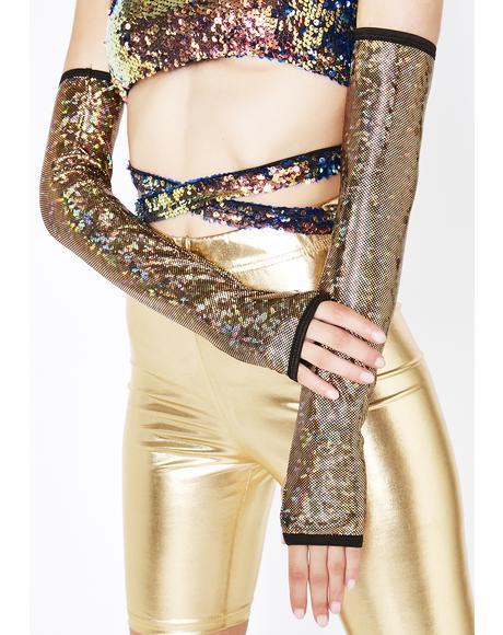 Gold Mesmerized Vibe Fingerless Gloves