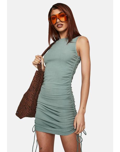 Sage Side Tie Mini Dress