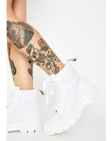 White Women's Combs Combat Boots