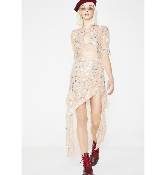 For Love & Lemons Ace Tiered Maxi Skirt