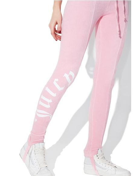 Riot Blush Velour Stirrup Leggings