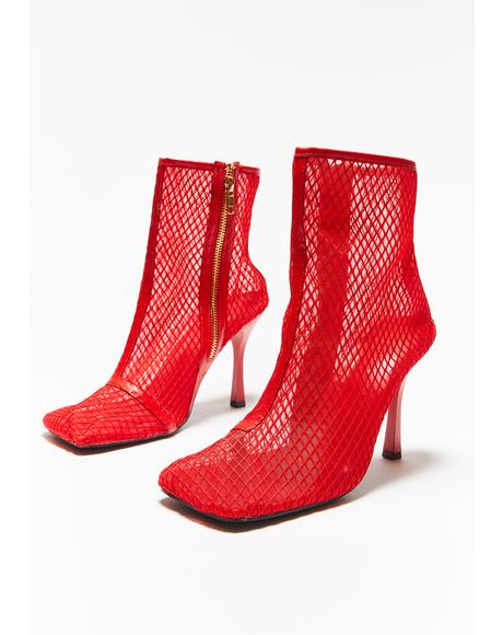 Scarlet All Eyes On U Fishnet Booties