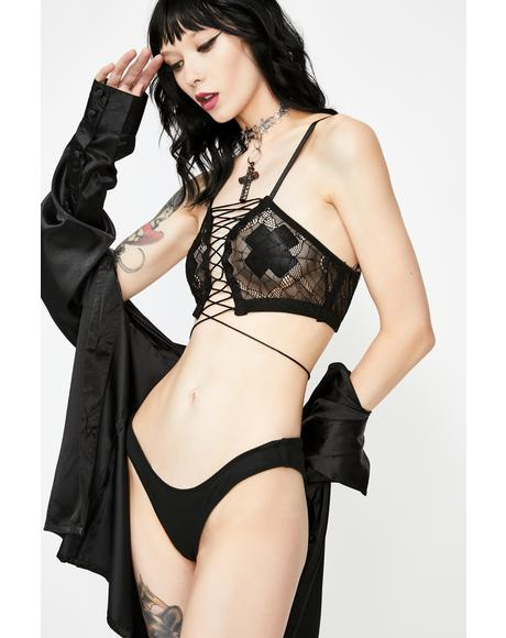 Kiss The Dark Web Mesh Bra
