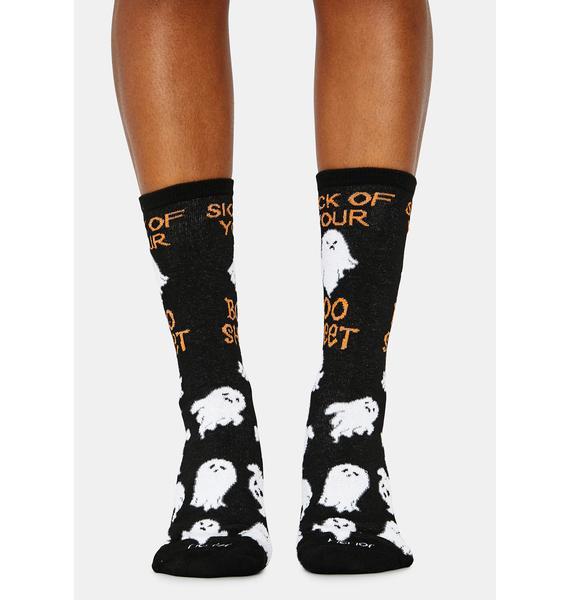 MeMoi Sick Of Your Boo Sheet Crew Socks