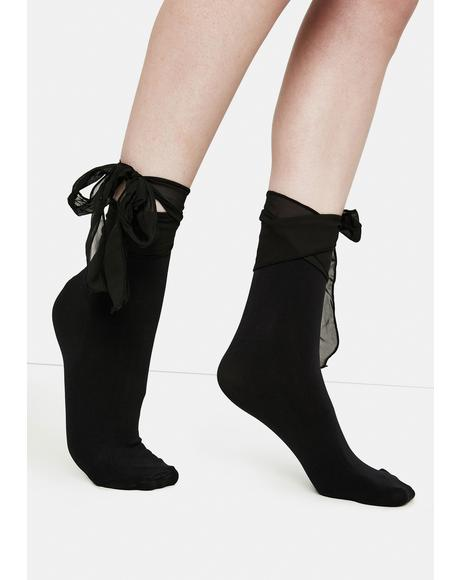 Black Ballerina Chiffon Bow Ankle Socks