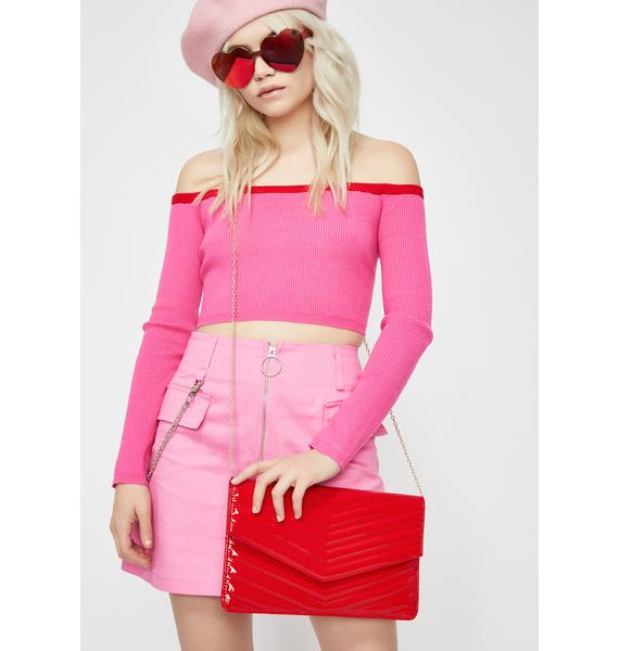 Cherry Chic Vibes Only Patent Clutch