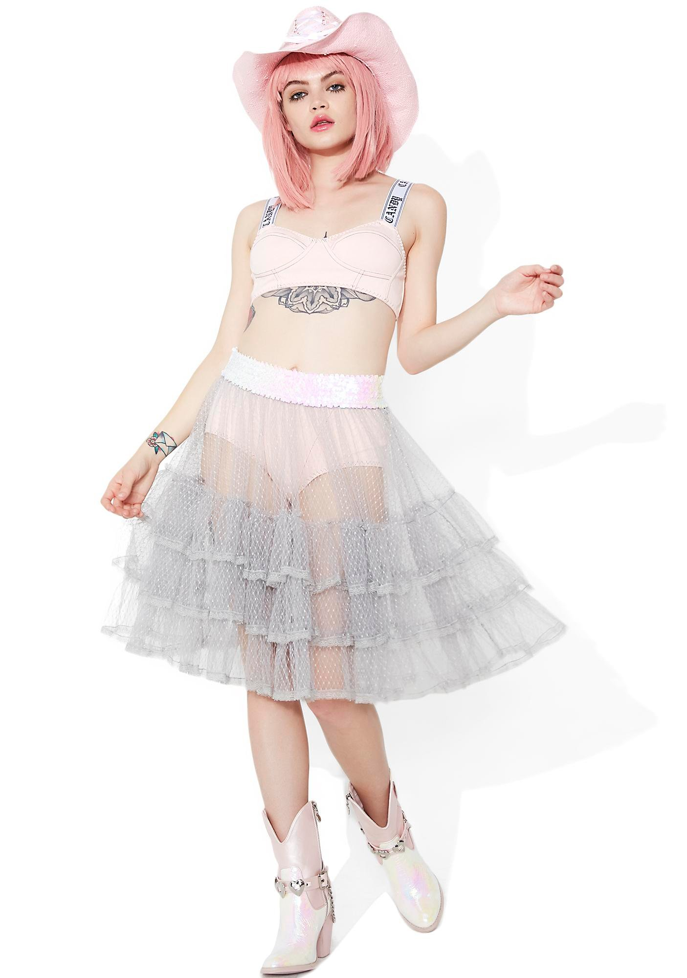 Sugar Thrillz Silver Spoon Sheer Ruffle Skirt