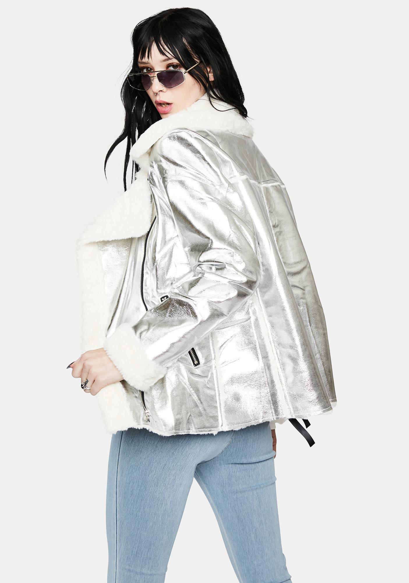 Shining Skies Metallic Moto Jacket