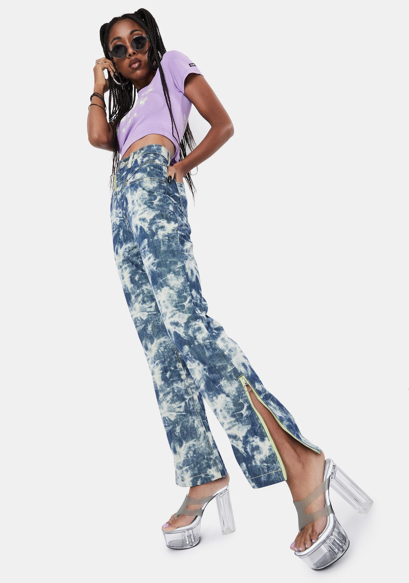 BADEE Contrasted Color Denim Pants