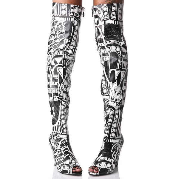 Street Art Thigh-High Boots