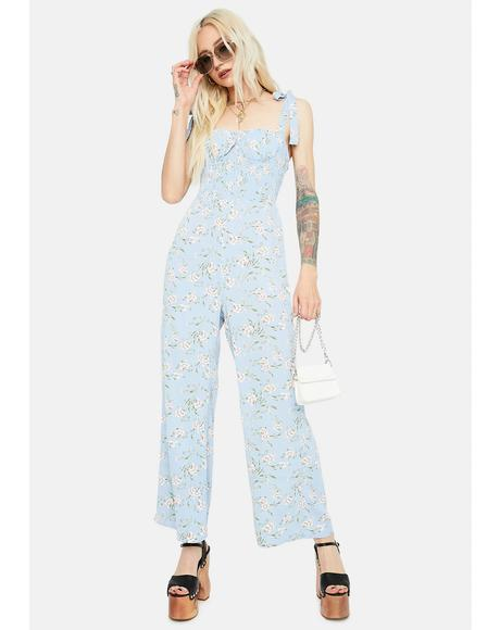Chill Fresh Air Floral Smocked Jumpsuit