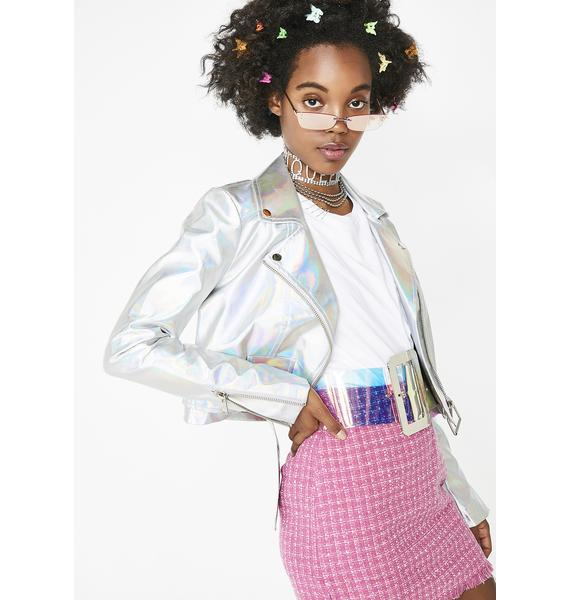 Current Mood Lil' Spacey Holographic Moto Jacket