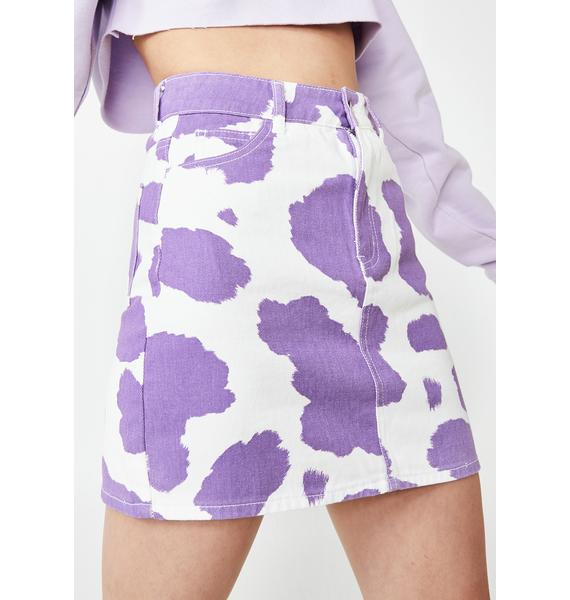 Jaded London Lilac Cow Print Denim Mini Skirt