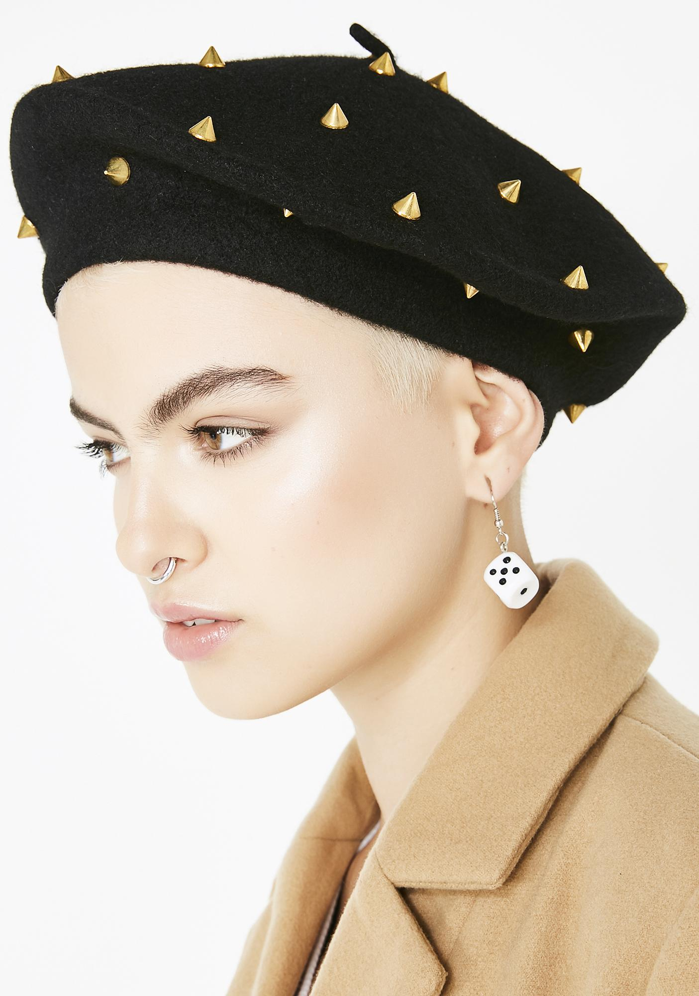 Gilded Damned Doll Spiked Beret