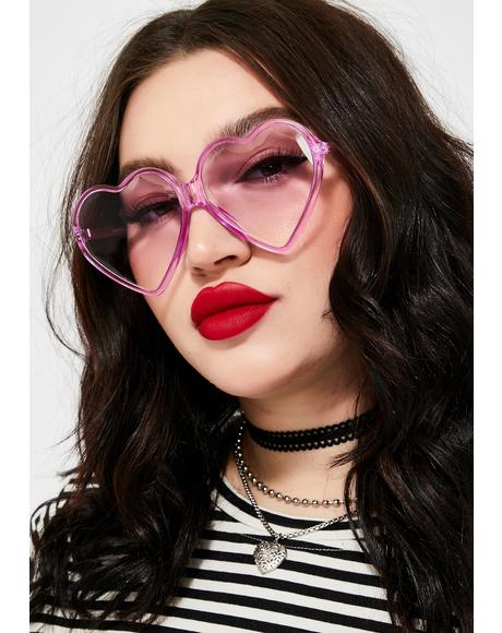 Purp Love Visionz Heart Sunglasses