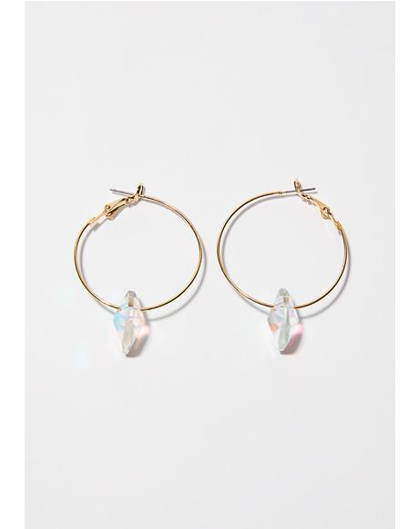 Heart Dropped Hoop Earrings