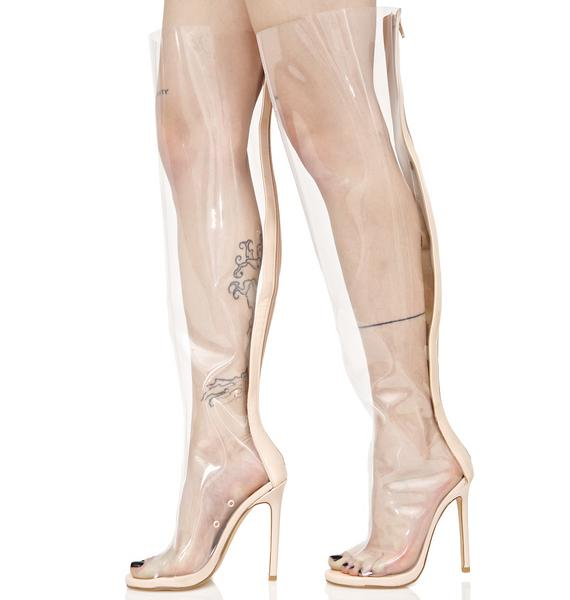 Privileged Clear Thigh High Peep-Toe Boot
