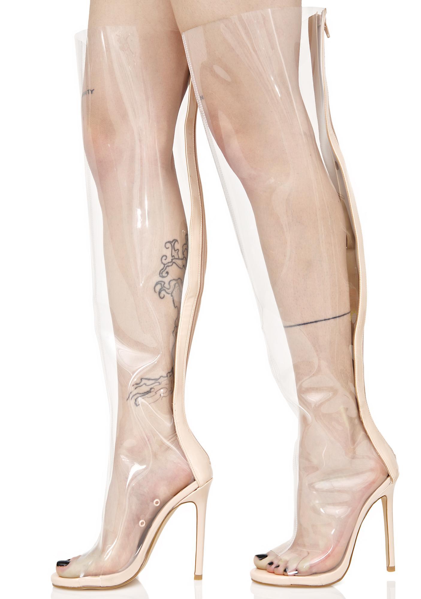 privileged clear thigh high peep toe boot dolls kill