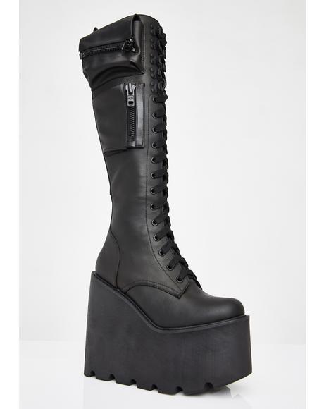 Obsidian Pocket Platform Boots