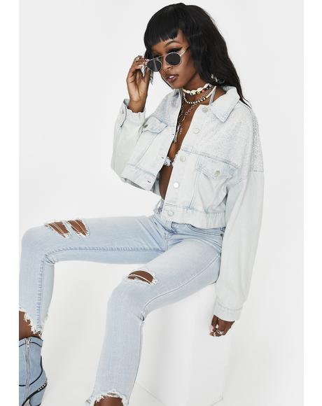 Miloh Rhinestone Cropped Denim Jacket